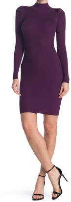 Planet Gold Mock Neck Puff Long Sleeve Ribbed Bodycon Dress