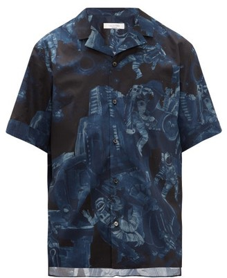 Valentino Infinite City-print Cotton Short-sleeved Shirt - Mens - Navy
