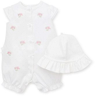 Little Me Girls' Rompers White - White & Pink Floral Ruffle Romper & Polka Dot Sunhat - Infant