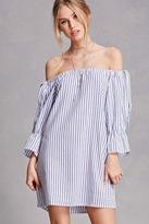 Forever 21 FOREVER 21+ Striped Off-the-Shoulder Dress