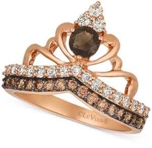 LeVian Le Vian Chocolate Smoky Quartz (1/4 ct. t.w.) & Diamond (3/4 ct. t.w.) Tiara Ring in 14k Rose gold