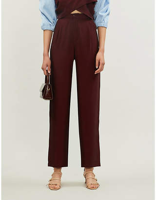 N. DUO Bordeaux wide-leg crepe high-rise trousers