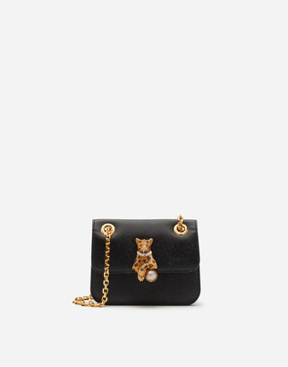 Dolce & Gabbana Small Jungle Bag In Calfskin With Bejeweled Closure