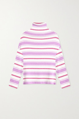 Leset Henry Oversized Striped Boucle Turtleneck Sweater - Lavender