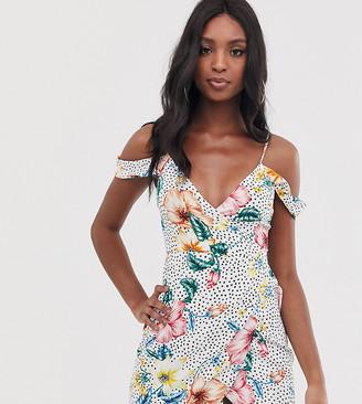 Parisian Tall cold shoulder dress with floral polka print