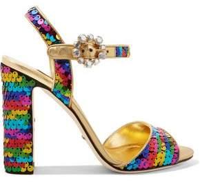 Dolce & Gabbana Crystal-Embellished Sequined Metallic Leather Sandals