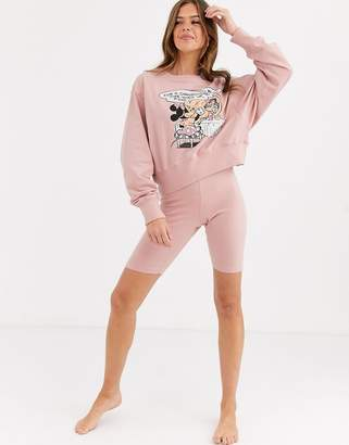 Asos Design DESIGN Disney Mickey Mouse lounge sweater & short set-Pink