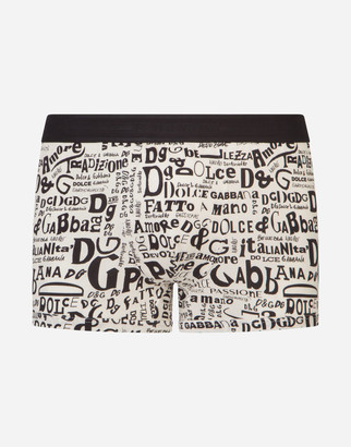 Dolce & Gabbana Cotton Boxers With Lettering Print Over A White Base