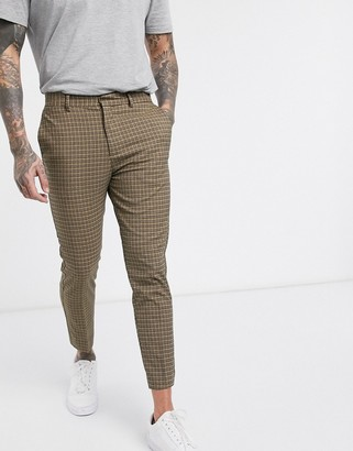 New Look mini check trousers in camel-Beige