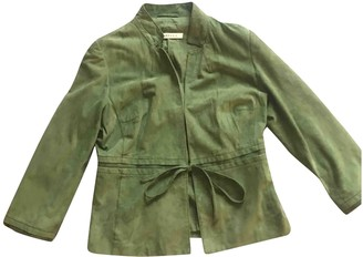 Marella Green Suede Leather Jacket for Women
