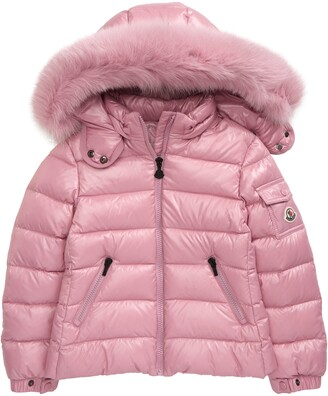 Moncler Kids' Bady Water Resistant Down Puffer Coat with Genuine Fox Fur Trim