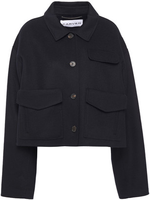 Carven Cropped Brushed-felt Wool And Cashmere-blend Coat