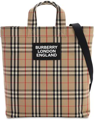 Burberry Artie Check Cotton Canvas Tote Bag