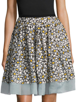RED Valentino Silk Floral A Line Skirt