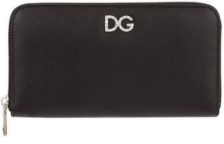 Dolce & Gabbana Crystal Logo Zip-Around Wallet