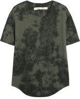 Raquel Allegra Tie-dyed Stretch Cotton-blend Jersey T-shirt - Dark gray