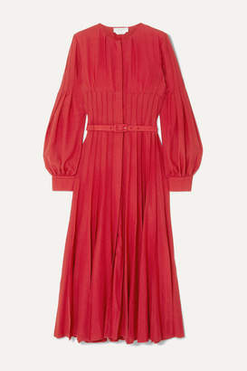 Gabriela Hearst Gertrude Pintucked Wool And Cashmere-blend Midi Dress - Red