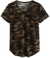 Fedi Apparel Women's V neck Camouflage Printed Shirts Short Sleeve Camo Tee Top