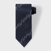 Paul Smith Men's Navy Musical Notes Stripe Silk Tie