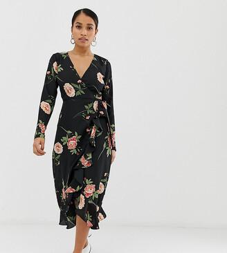 Fashion Union Petite wrap midi dress in oversize floral-Black