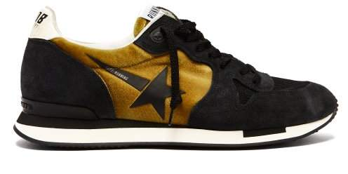 Golden Goose Running Suede And Velvet Trainers - Womens - Black Gold