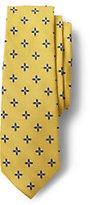 Lands' End Men's Silk Star Flower Neat Necktie-Dark Bay Blue Multi Stripe