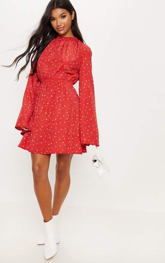 PrettyLittleThing Red Shirred Heart Printed Skater Dress