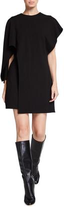Halston Zia Asymmetrical Milano Knit Mini Dress