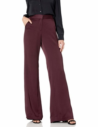 Halston Women's Straight Fit Pleat Detail Satin Pant
