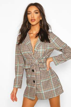 boohoo Check Belted Blazer Dress