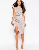 Asos Drape Trim Midi Slinky Dress