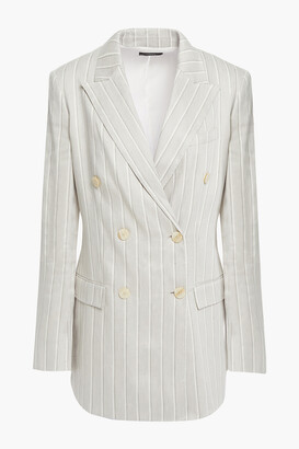 Theory Double-breasted Pinstriped Linen-blend Blazer