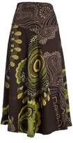 Aller Simplement Brown & Green Abstract Midi Skirt