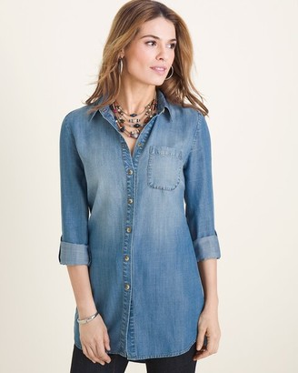 Chico's Chicos Long Denim Shirt