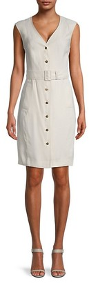 Calvin Klein Belted Button-Up Sheath Dress