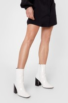 Thumbnail for your product : Nasty Gal Womens Square Toe Patent Heeled Boots - White - 5, White
