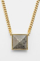 Vince Camuto 'Blow Up Pyramid' Long Leather Stud Pendant Necklace