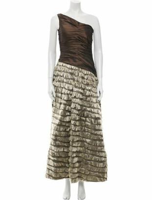 Balmain Silk Long Dress Brown