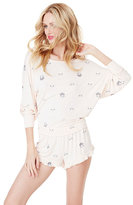 Betsey Johnson Crowned Cat Printed Dolman Top And Short Set