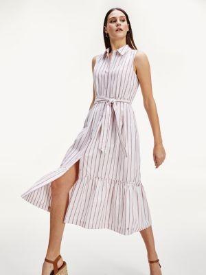 Tommy Hilfiger Sleeveless Stripe Midi Shirt Dress