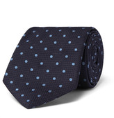 Dunhill 8cm Polka-dot Mulberry Silk Tie - Navy