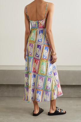 Rixo Holly Printed Silk-crepe Midi Dress - Blue
