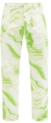 Aries Lilly Marble-print Straight-leg Jeans - Green