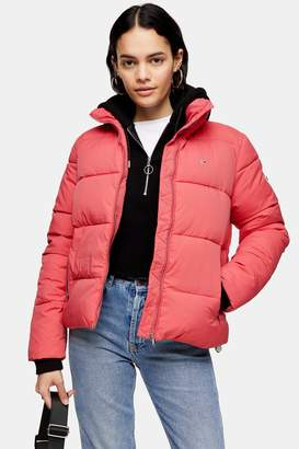 Tommy Hilfiger Womens High Neck Puffer Jacket By Tommy Jeans - Rose