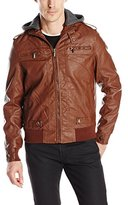 X-Ray Men's Slim Fit Faux Leather Jacket with Removable Hoodie and Rib Waist Band