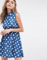 Iska Polka Dot Denim Shirt Dress