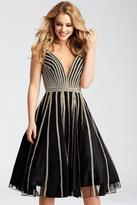 Jovani Plunging Jewel Festooned A-Line Dress