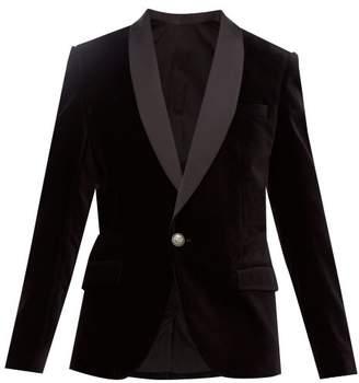 Balmain Satin Collar Single Breasted Velvet Blazer - Mens - Black