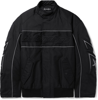 Balenciaga Oversized Logo-Appliqued Piped Padded Tech-Cotton Bomber Jacket