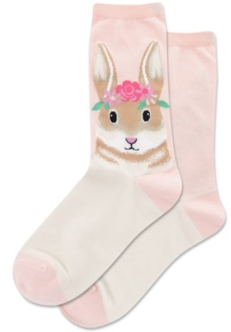 Hot Sox Flower Crown Bunny Crew Socks